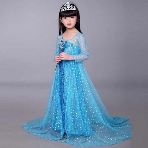 लड़की के लिए फ्रोजन एल्सा जन्मदिन की पोशाक, ड्रेस पार्टी वियर गर्ल