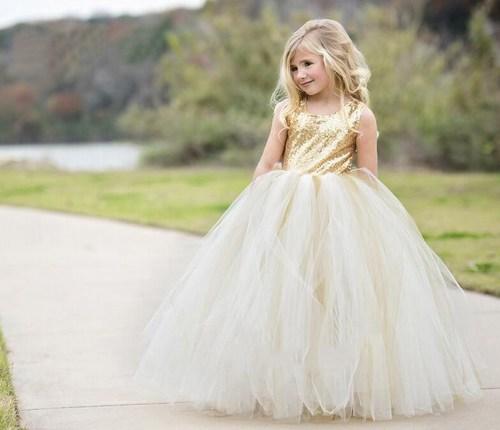 सोने की सेक्विन स्पार्कलिंग गर्ल गाउन, लड़की के लिए सेक्विन ड्रेस