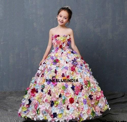 लड़की के लिए लग्जरी फ्लावर लॉन्ग गाउन, परी फ्रॉक डिजाइन गर्ल ड्रेस