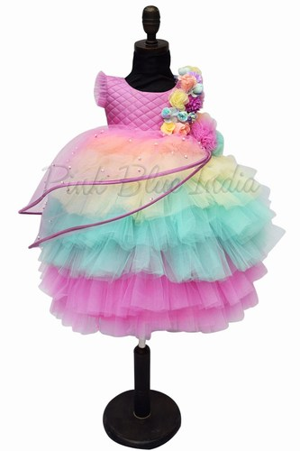 इंद्रधनुष रंग की जन्मदिन की पोशाक, बेबी गर्ल पार्टी वियर ड्रेस