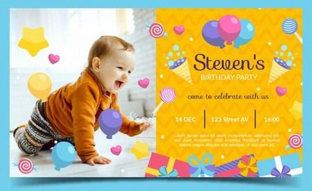 Baby Boy 1st Birthday Invitation Card, Boy First Birthday Invitation