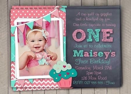 Baby Girl 1st Birthday Invitation Card, Girl Turning One